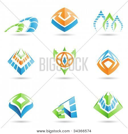 Vector illustration of mystic pyramid like symbols