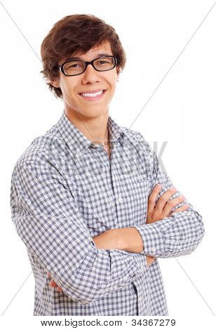 Portrait of successful latin young man in black glasses. Isolated on white background, mask included