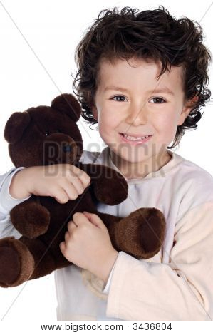 Beautiful Child With Teddy Bear