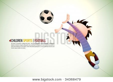 Child Soccer Player Goalkeeper Faults Toward the Football   EPS10 Vector Background   Layers Organized and Named Accordingly