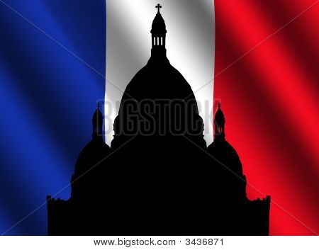Sacre Coeur With French Flag Illustration
