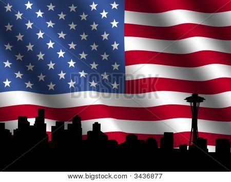 Horizonte de Seattle con bandera americana