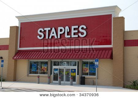 JACKSONVILLE, FLORIDA - APRIL 8: A Staples retail store on April 8, 2012 in Jacksonville, Florida. Staples is an American office supply company, founded in 1986, with over 2,000 store in 26 countries.