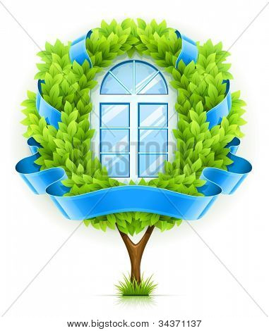 Ecological window concept with green tree. Vector illustration isolated on white background EPS10. Transparent objects used for shadows and lights drawing.