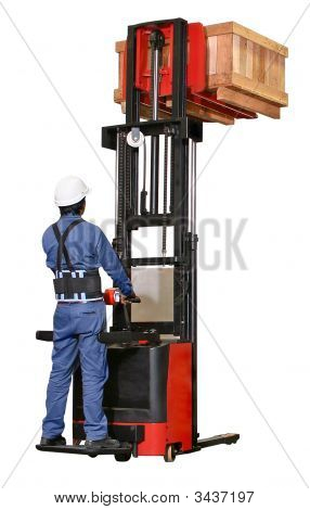 Man Workinig With A Forklift