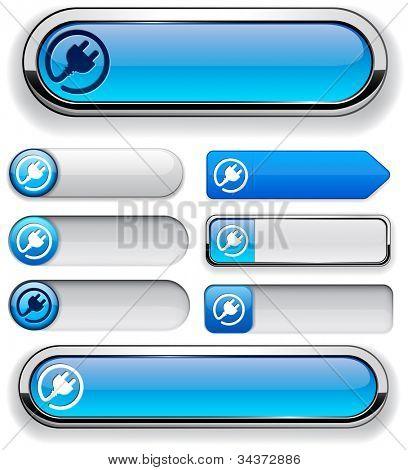 Plug web blue buttons for website or app. Vector eps10.