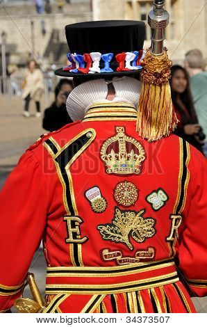Back of the Yeomen Warders (beefeater)