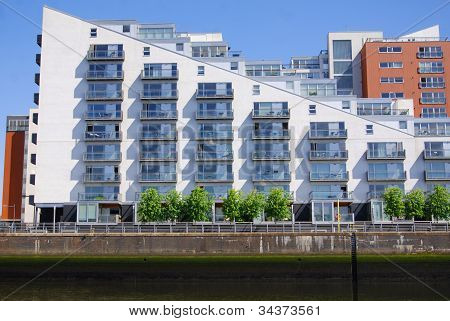 Modern building on the Clyde river, Glasgow, Scotland, UK