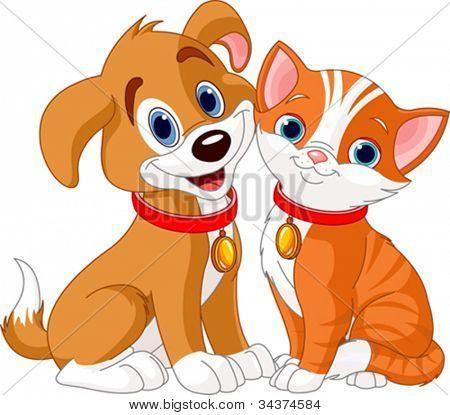 Illustratie van beste vrienden ooit - kat en hond