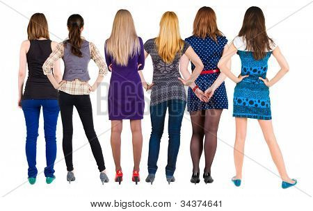 Back view group of woman who are looking into the distance. Rear view people collection. backside view of person. Isolated over white background.