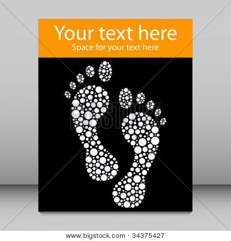 Footprint leaflet design with copy space vector.