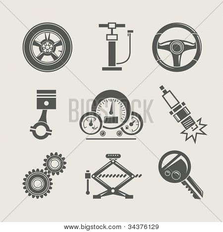 car part set of repair icon vector illustration