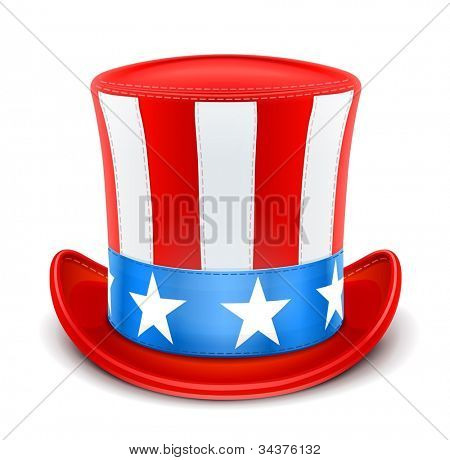 usa top hat for independence day vector illustration isolated on white background EPS10. Transparent objects and opacity masks used for shadows and lights drawing