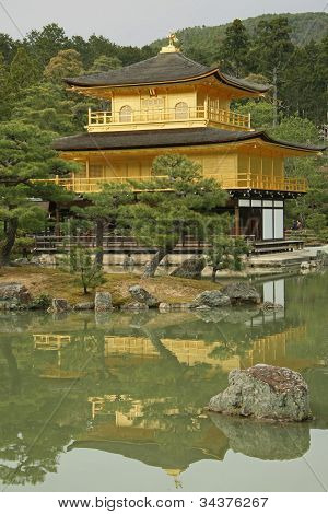 Kinkakuji Temple in Kyoto, vertical