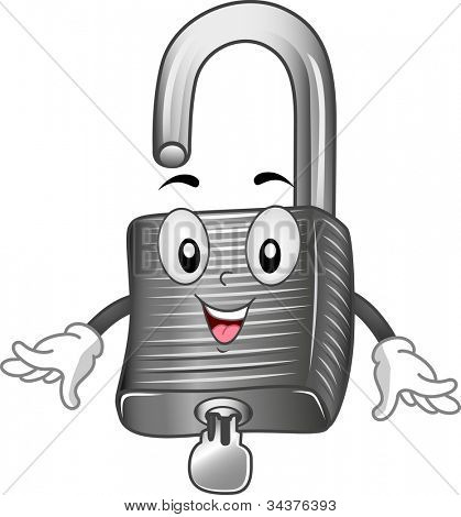 Mascot Illustration Featuring a Padlock