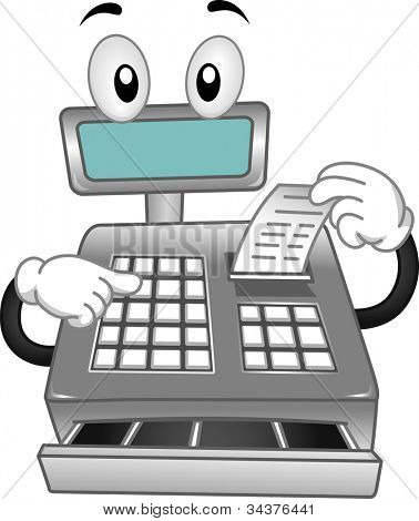 Mascot Illustration Featuring a Cash Register Printing a Receipt