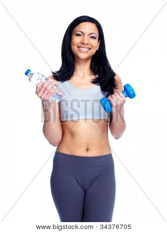 Beautiful young fitness woman with a dumbbells. Isolated over white background.