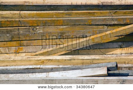 wooden boards in storage
