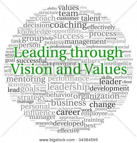 Vorsprung durch Vision und Werte-Konzept in Wort-Tag-Cloud auf weißem Hintergrund