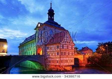 Medieval town hall on the bridge Bamberg Bavaria