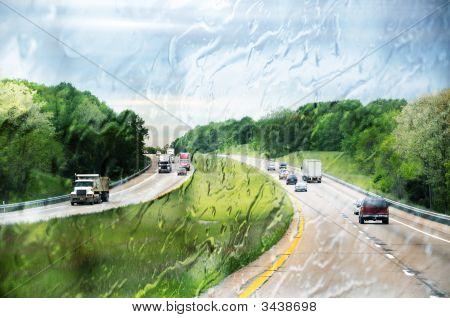 Interstate I-71 Highway Through The Wet Window