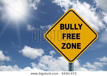 Yellow bully free zone road sign