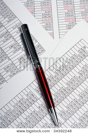 Business Spreadsheets With Pen