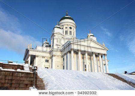 Holy and white tuomiokirkko in Helsinki
