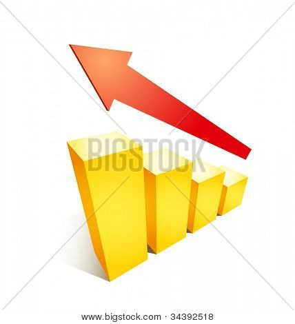 Business success growth graph chart illustration with arrow and golden bars on white background