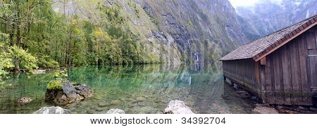 log cabin and water in Obersee,koenigssee, Berchtesgaden