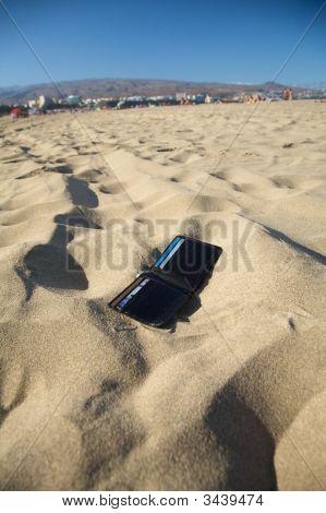 Cartera en la playa