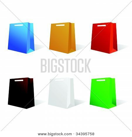Paper Bag In Six Color Vector