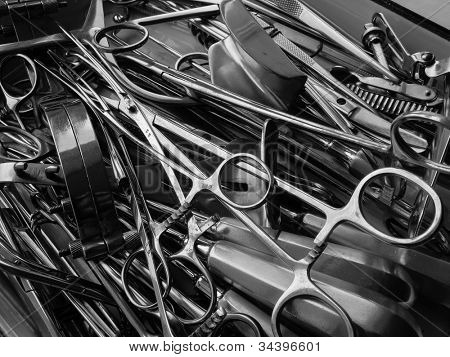 Surgical instruments black and white close-up