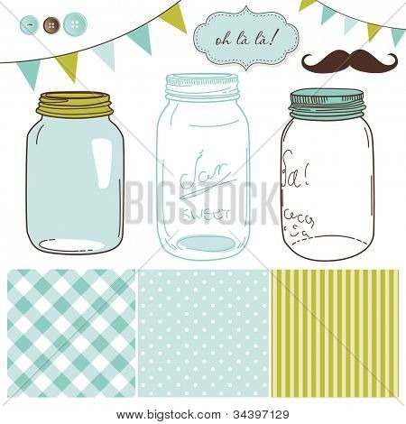 Glass Jars, frames and cute seamless backgrounds. Ideal for wedding invitations.