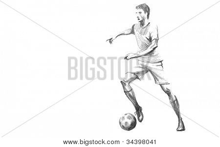 Hand-drawn Sketch, Pencil Illustration of a Football, Soccer Player | High Resolution Scan, Decent Copy Space