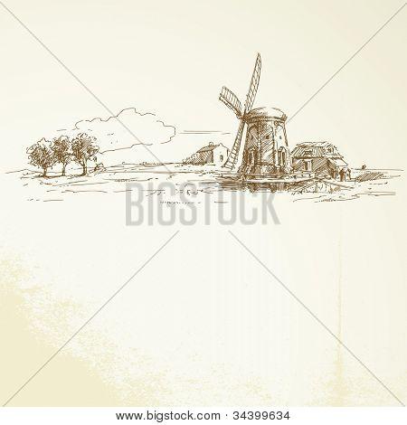 holland windmill - hand drawn illustration