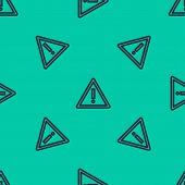 Blue Line Exclamation Mark In Triangle Icon Isolated Seamless Pattern On Green Background. Hazard Wa poster