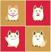 Chinese New Year Animal Pet Pig Animal In Collar Vector. Pig Pretending To Be Puppy Wearing Bow On N poster