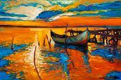 Original Oil Painting Of Boats And Jetty(pier) On Canvas.rich Golden Sunset Over Ocean.modern Impres poster