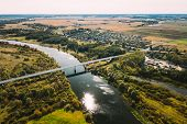 Chachersk, Belarus. Aerial View Of Bridge Over The Sozh River In Summer Day. Top View Of Beautiful E poster