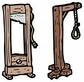 stock photo of guillotine  - cartoon noose and guillotine - JPG
