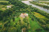 Khalch, Vetka District, Belarus. Aerial View Old House Manor Of Landowner Voynich-senozhetskih. Top  poster