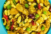 Indian Snacks: Traditional Indian Deep Fried Salty Dish Called Chivda Or Mixture Or Farsan Made Of G poster