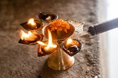 Traditional Indian Oil Lamp Objects For Worship The Deities In The Indian Culture. Diwali Lamp. The  poster