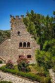 The Tower, Partially Hidden By Pine Tree Branches. Spring Day And Archeological Ruins At Butrint Nat poster