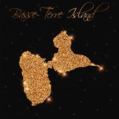 Basse-terre Island Map Filled With Golden Glitter. Luxurious Design Element, Vector Illustration. poster
