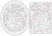 A Set Of Contour Illustrations Of Stained Glass Windows With Cats On A Background Of Colors, Dark Co poster