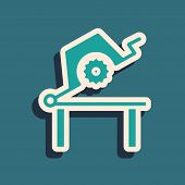 Green Table Saw For Woodwork Icon Isolated On Blue Background. Power Saw Bench. Long Shadow Style. V poster