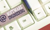Conceptual Hand Writing Showing Software Engineering. Business Photo Text Apply Engineering To The D poster