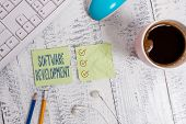 Conceptual Hand Writing Showing Software Development. Business Photo Text Software Is Created Using  poster